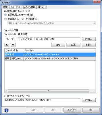 Rexiferフォーマット設定画面