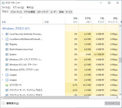 Windows10のプロセス一覧