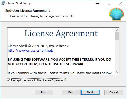 ClassicShell:ライセンス同意画面