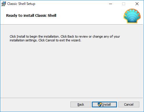 ClassicShell:インストール最終確認