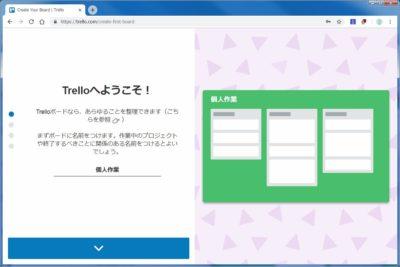 Trelloユーザー登録後初期画面