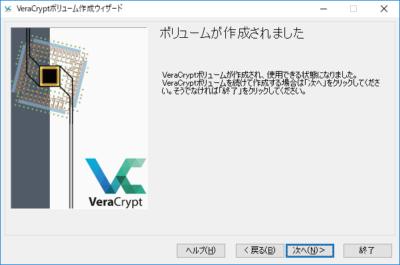 VeraCryptボリューム作成:作成完了