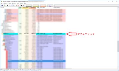 Process Explorerで負荷の原因を調査