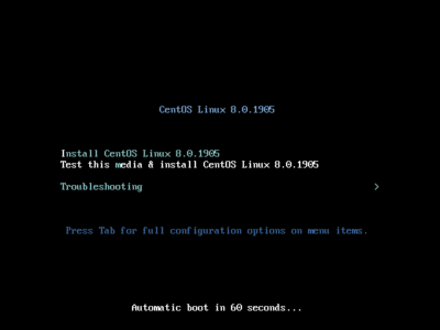 CentOS8.0インストーラー:起動画面