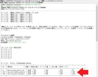 TeraStationTS5600Dのレポートメール
