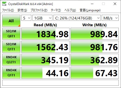 Intel SSD 660pのディスク性能