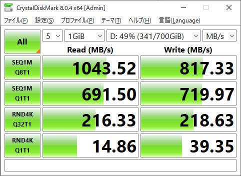 Samsung T7のディスク性能